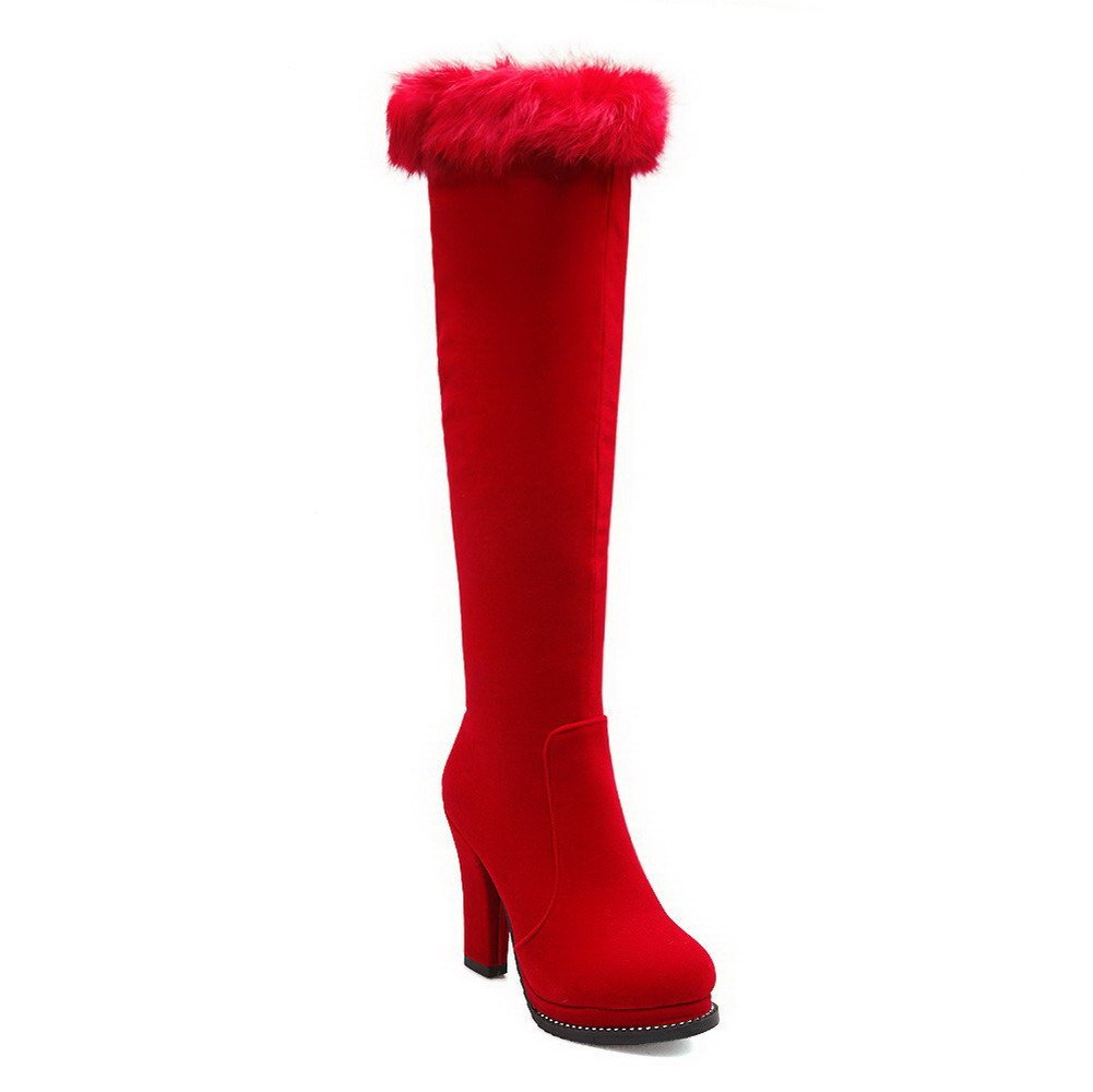 VogueZone009 Womens Round Closed Toe High-Heels Imitated Suede Zipper Solid Boots, Red-Platform, 33 by VogueZone009