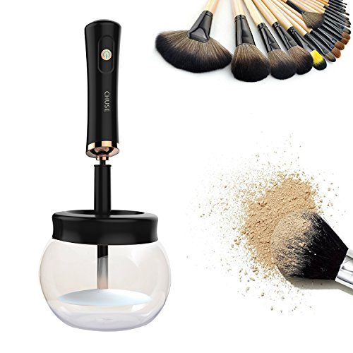 CHUSE Makeup Brush Cleaner and Dryer Machine, Completely Clean in Seconds and Dry in 360 Rotation with 8 Rubber Holders, Suit for All size Makeup Brushes (Black)