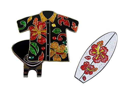 - Navika Aloha Shirt Crystal and Surfboard Glitzy Ball Marker Combo with ONE Magnetic Hat Clip