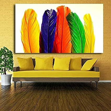 ganlanshu Pintura sin Marco Decoración para el hogar Lienzo Moderno Arte de la Pared Color Pintura al óleo Pluma Imagen sobre Lienzo dormitorioCGQ8795 60X105cm