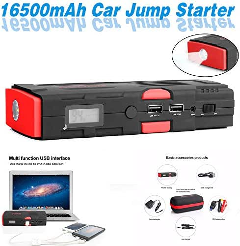 Multifunctional Car Jump Starter Portable External Battery Charger 600A Peak with 16500mAh High Capacity - Emergency Auto Heavy Duty Jumper for Sedan Truck,Van,SUV, Laptop and More