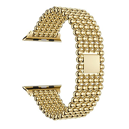 Owill Beaded Pattern Stainless Steel Watch Band Replacement Strap for Apple Watch Series 1/2/3 42MM, Length:18CM (Gold) (Beaded Pink Watch)