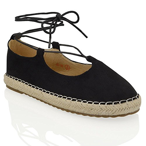 ESSEX GLAM Womens Lace Up Strappy Flat Platform Synthetic Leather Ladies Espadrille Shoes Black Faux Suede wkRu6