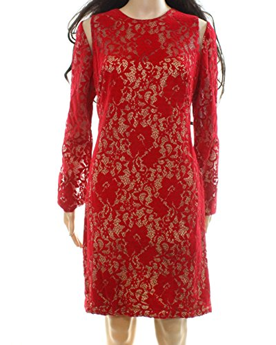 Tadashi Shoji Womens Floral-Lace Mesh Sheath Dress Red 12