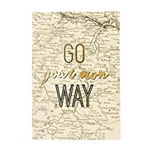 Eccolo Q402D World Traveler 6-Inchx8-Inch Hardcover Travel Journal, Go Your Own Way