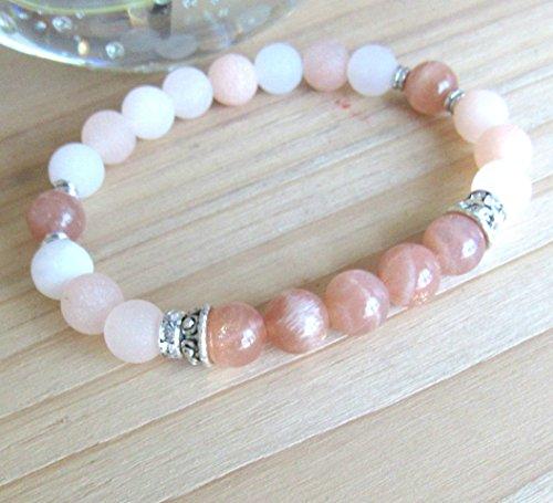 Moonstone bracelet, Peach Aventurine, sunstone moonstone, High quality beaded bracelet, Reiki bracelet - Inner growth and balance