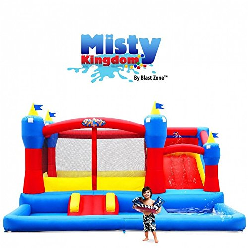 Blast Zone Misty Kingdom Inflatable Bouncer, Ball Pit, and Water Park with Slide ()