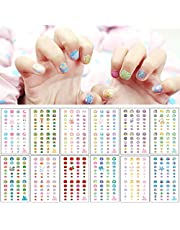 EBANKU Self Adhesive Nail Art Stickers for Kids with Nail File, 12 Sheets 3D Fruits Moon Crowns Rainbow Ice Cream Animals Lovely Nail Stickers Decals Wraps for Girls Kids Holiday Nail Art Decals