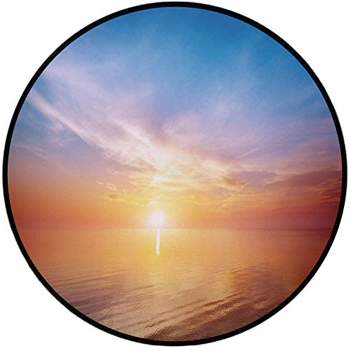 (Printing Round Rug,Sunrise Decor,Magical Horizon Seascape Bay Ocean Coastal Charm Sky Tranquil Summer Image Mat Non-Slip Soft Entrance Mat Door Floor Rug Area Rug For Chair Living Room,Orange Blue )