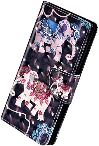 Herbests Kompatibel mit Huawei Y7 2019 Hülle Klapphülle Leder Flip Schutzhülle Wallet Handyhülle Bunt Bling Glänzend Glitzer Muster Brieftasche Handytasche Case,Elefant Mandala