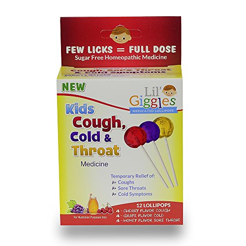 Lil#039 Giggles Kid#039s Cough Cold amp Throat Medicated Lollipops Variety Pack  for Children#039s Persistent Cough Cold and Sore Throat Homeopathic Remedy The Medicine Kid#039s Will Love to take 12 CT