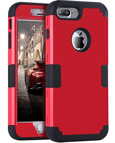 (iPhone 8 Plus Case, iPhone 7 Plus Case, BENTOBEN Heavy Duty Slim Shockproof Drop Protection 3 in 1 Hybrid Hard PC Cover Soft Rubber Bumper Protective Phone Case for iPhone 8 Plus/7 Plus Black/Red)