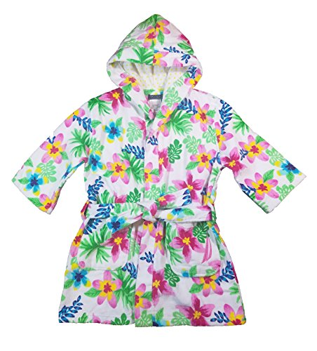Nautica Girls Beach Swim Hooded Terry Velour Cover-Up Robe (Large (10/12), White Floral)