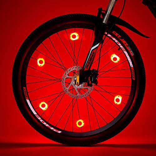Willceal Bike Spoke Light 6PCS, Bike Wheel Light,Tyre Wire Right with 6 LED Flash Model Neon Lamps,Bike Safety Alarm Light. (Red)
