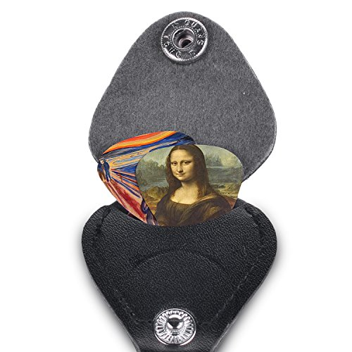 Guitar Picks, Cool Renaissance Art Medium 12 Pack Celluloid, Leather Keychain Pick Holder Included, Premium Gift Set For Every Artist & Guitar Player. A Most Original Christmas Gift.