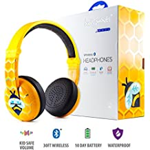 Wireless Bluetooth Headphones for Kids - BuddyPhones WAVE | Kids Safe Volume Limited to 75, 85 or 94 dB | Foldable & Waterproof | 24-Hour Battery Life | Optional Cable for Audio Sharing | Yellow