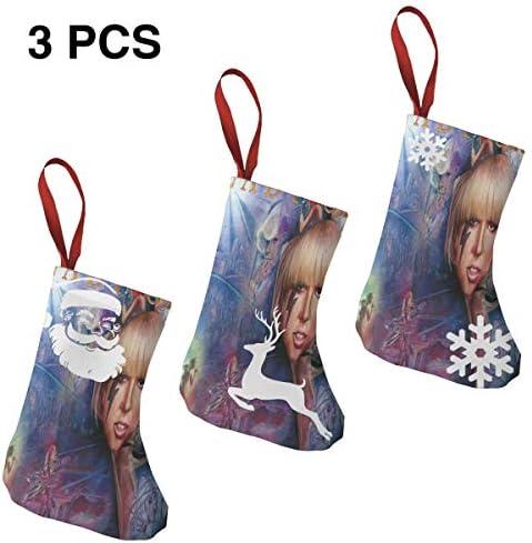 クリスマスの日の靴下 (ソックス3個)クリスマスデコレーションソックス 音楽Lady Gaga クリスマス、ハロウィン 家庭用、ショッピングモール用、お祝いの雰囲気を加える 人気を高める、販売、プロモーション、年次式