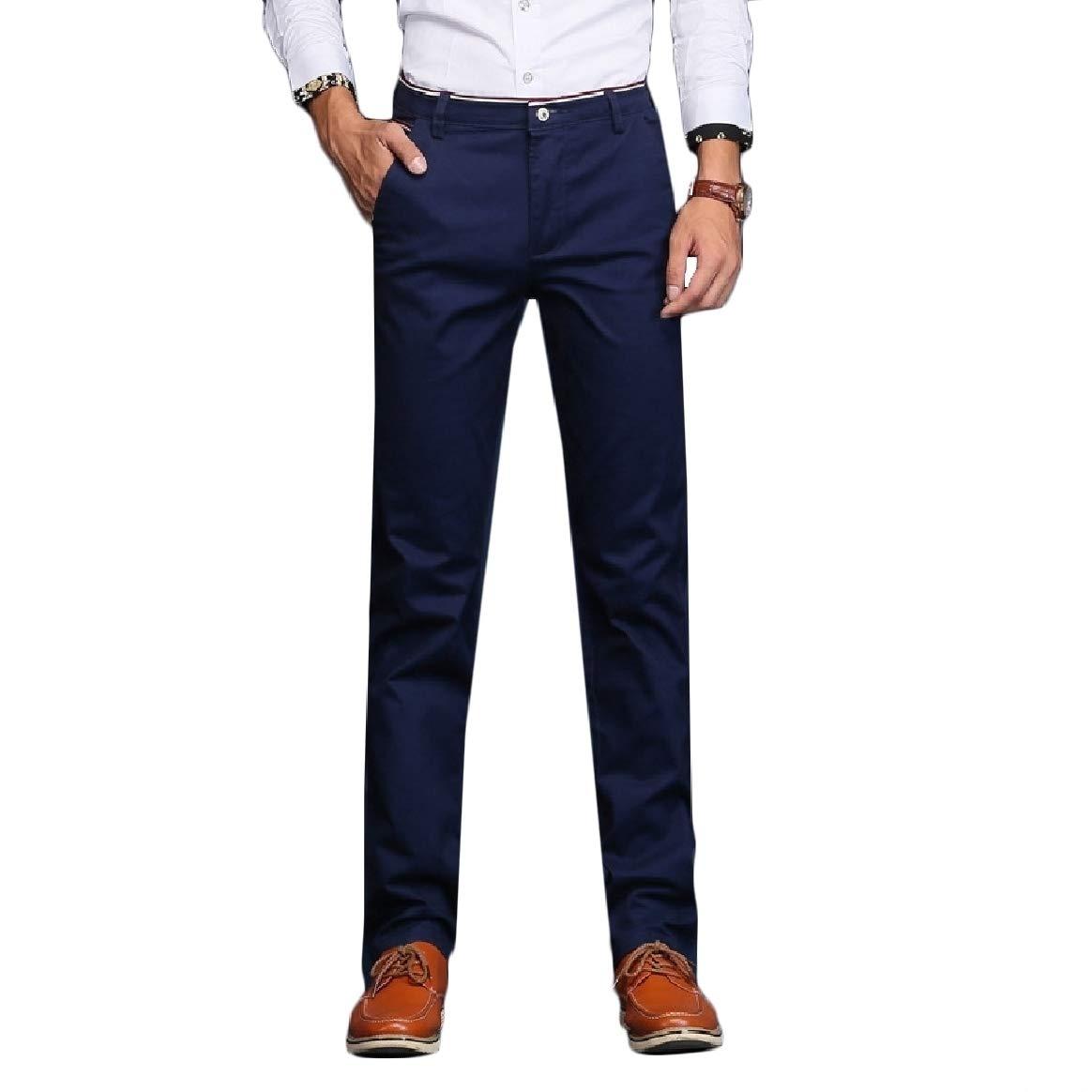 Abetteric Men Cozy Straight Leisure Oversize Business Solid Trousers Pants 3 29