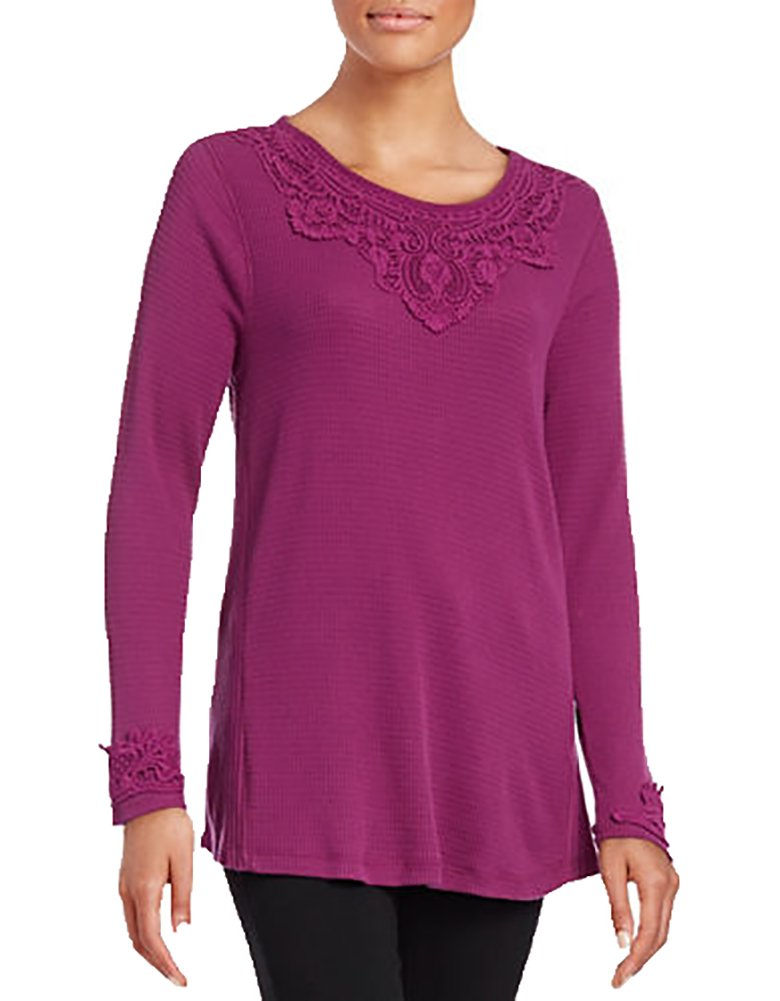 Style & Co. Lace-Trim Waffle-Knit Top (LARGE), Magenta Blossom
