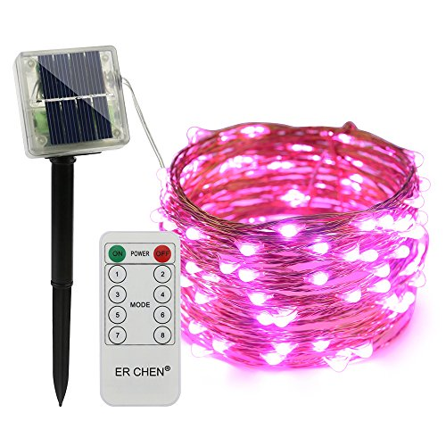ErChen Remote Control Solar Powered Led String Lights, 33FT 100 LEDs Copper Wire Waterproof 8 Modes Decorative Fairy Lights for Outdoor Christmas Garden Patio Yard - Ornament Cluster Christmas