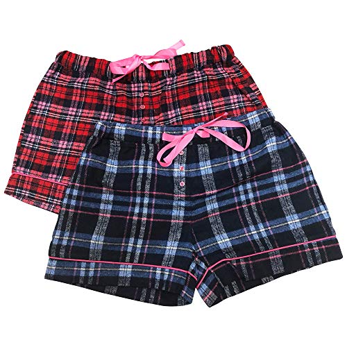 Bottoms Out Womens Ladies Pajama Sleep Shorts PJ's 2PK Flannel ()