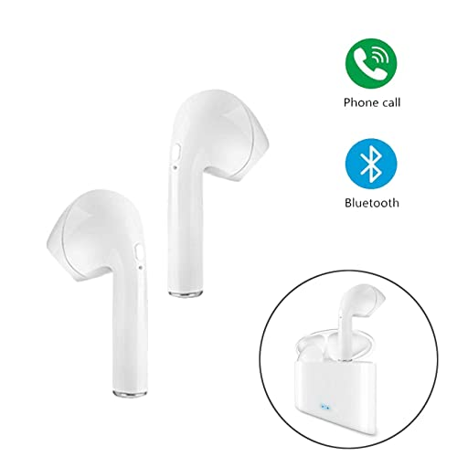 PETHREE Bluetooth Headset, Wireless Earphones Mini In-ear Headphones Cordless Stereo Noise Cancelling Sports Earbuds, with Built-in Mic and Charging Station Case for iOS and Android Devices - White