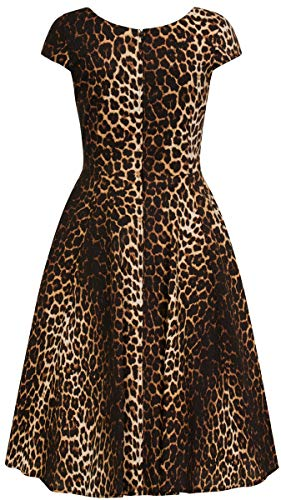 Dress Damen braunes Kleid Bunny Hell Swing Panthera Leopard Schwarz Leomuster Print gq04nx5wz