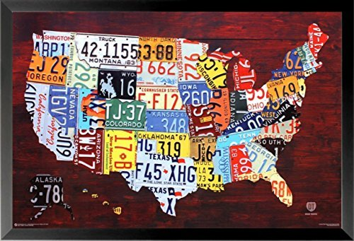 FRAMED United States License Plate Map 36x24 Art Print Poster Wall Decor Pop Art Rustic Educational (Map Plate)