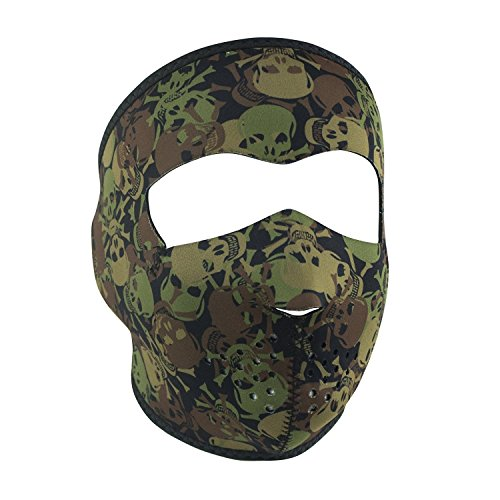 Skull Camo Camoflauge Green Brown Khaki Reversible to Black Neoprene Full Face Mask by Zanheadgear