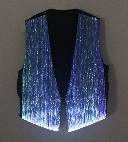 LED Fiber Optic Waistcoat Light up Vest for Men Fashion Glow in The Dark Luminous Vest (XL, Blue) by Fiber Optic Fabric Clothing (Image #2)