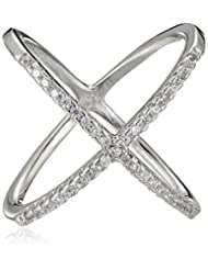 Sterling Silver Cubic Zirconia Criss Cross Stackable Ring