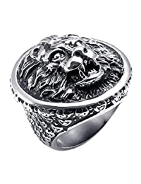 Konov Jewelry Large 316L Stainless Steel Lion Biker Mens Ring, Black Silver, with Gift Bag, C21865
