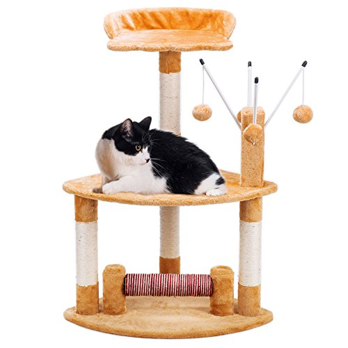 "CO-Z 35"" Cat Tree House Condo Perch, Cat Furniture, with Scratching Ramp & Dangling Toys, Brown"