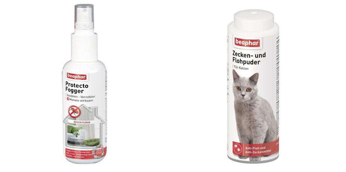 1 Set Zecken- und Flohpuder 100g Katze am Tier anwendbar und für die Umgebung Protecto Plus 150ml ZOO BEAPHAR