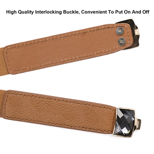 Skinny Elastic Leather Belt For Dress, SUOSDEY Cinch Waist Thin Womens Belt With Rhinestone Brown Color