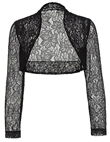 [Plus Size Bolero Shrug Long Sleeve Cropped Shrugs JS49-1 Black 3XL] (Plus Size Evening Wear)