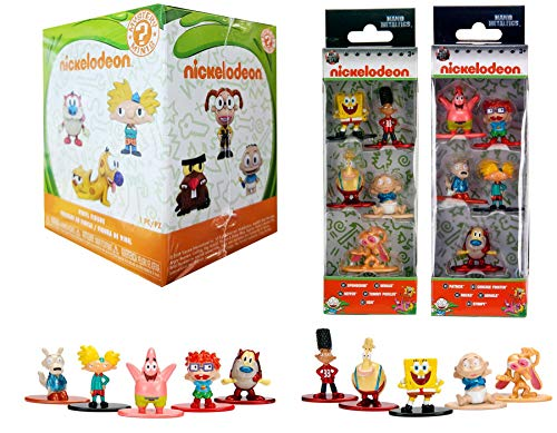 The 90's Nick Figs 11 Figure Collection Ren & Stimpy Spongebob Squarepants Nickelodeon Mini Nano Character Figures Metal Squidward & Patrick Rugrats / Hey Arnold / Rocko's Modern Life Cartoon - Muppets Blind Box