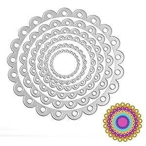 SCASTOE 6pc Circle Cutting Dies Stencil Paper Card Craft Making Scrapbooking Album