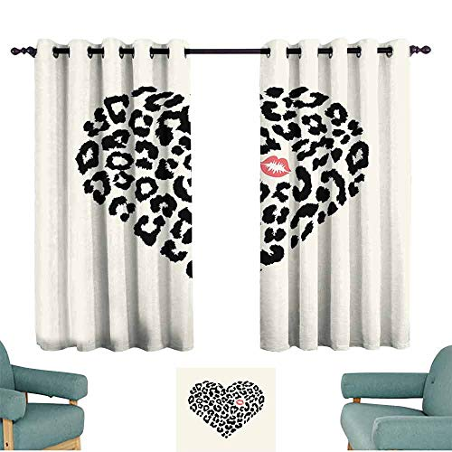 (HCCJLCKS Exquisite Curtain Kiss Heart Shape Leopard Skin Pattern and a Kiss Mark Love Valentines Day Honeymoon Simple Style W63 xL63 Cream Black Coral)
