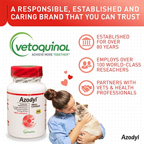 Vetoquinol Azodyl Kidney Health Supplement for Dogs & Cats, 90ct - Probiotic Pet Well-being - Help Support Kidney Function & Manage Renal Toxins - Renal Care Supplement - Easy-to-Swallow Small Caps by Vetoquinol (Image #5)
