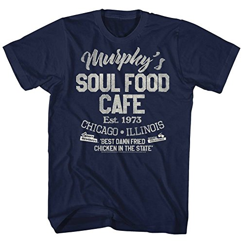 American Classics Unisex Blues Brothers Soul Food Cafe Adult Short Sleeve T-Shirt, Navy, ()