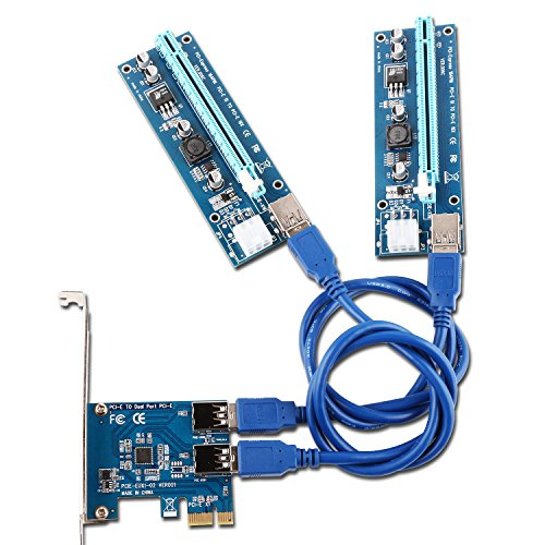 Ubit 2 in 1 PCI-E Riser Adapter Board + 6 PIN 16x to 1x Powered Riser Adapter Card w/ 60cm USB 3.0 Extension Cable & 6-Pin PCI-E to SATA Power Cable - GPU Riser Adapter - Ethereum Mining ETH