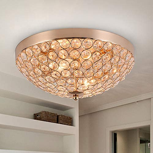 SOTTAE Elegant 2 Lights Crystal Cental Shade Bronze Gold Finish Bedroom Living Room Hallway Kids Room Modern Crystal Chandelier Ceiling Light