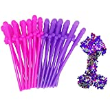 Ldoux 24 Pack Bachelorette Party Straws and 1 pack Confetti for Bachelor Party Girls Night Out Bachelorette Supplies Favors