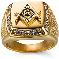 A.Yupha Mens Iced Out Masonic G Free Mason Ring 18K Yellow Gold Finish Square Ring (12)
