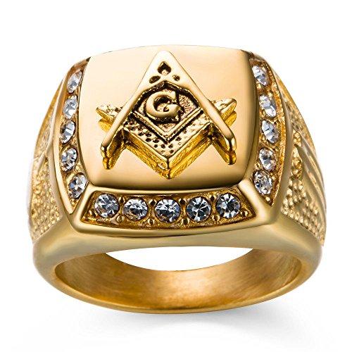 A. yupha para hombre Iced Out masónico G última intervensión Mason Anillo 18K acabado de oro amarillo cuadrado anillo,...