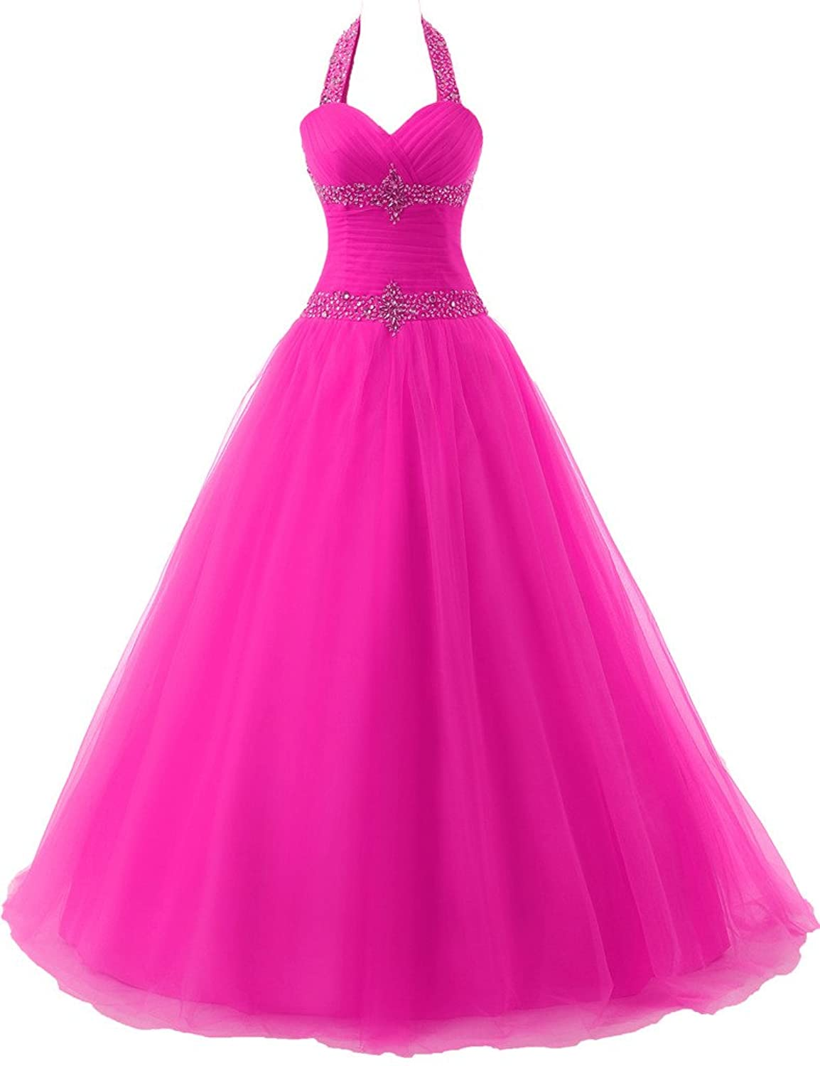 JAEDEN Halter Backless Quinceanera Dresses Ball Prom Dresses