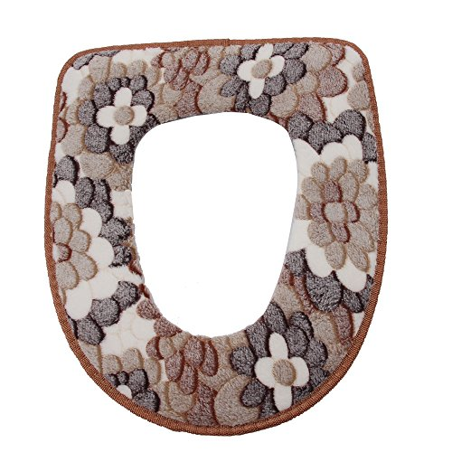 Warm Toilet Seat Covers - Vanki Winter Warm Toilet Seat Cover Brown Flower 1pcs