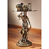 Design Toscano Blind Justice Glass-Topped Sculptural Table