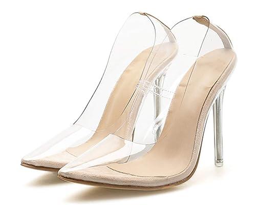 prix favorable plus près de sélection mondiale de YOGLY Escarpins Femmes Sexy Transparent PVC Bout Pointu à ...